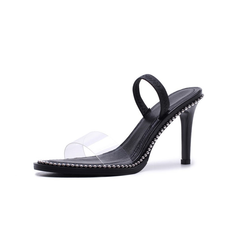 Sandales Porter Chaussures Rivet Femmes De Transparent Des Hauts Noir Black D'été Talon Knsvvli Sexy Deux À Pantoufles Talons Nouveau Stiletto zGqSMpUV