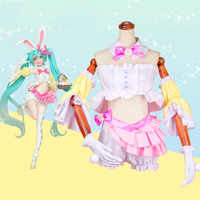 Hatsune Miku Cosplay Costumes Hatsune Miku Rabbit Ears Cosplay Costume Halloween Carnival Party Women Customized