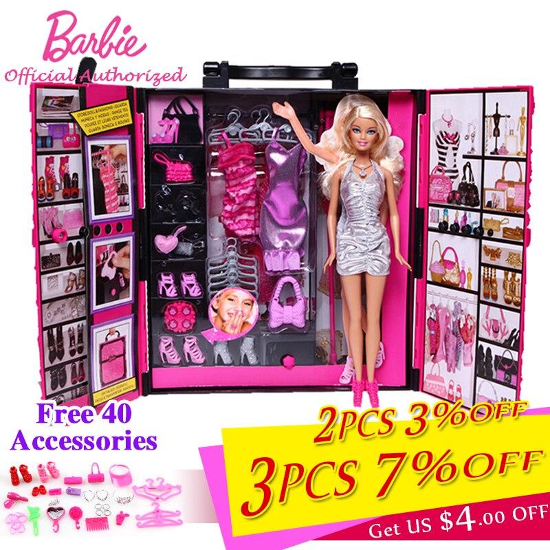 Barbie Originale Marque Drôle Rêve Armoire Vêtements Accessoires Bébé Jouet Pour Petite Fille Cadeau de Jour De Noël Barbie Boneca X4833