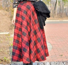 Free shipping 2014 Spring Autumn Winter New Fashion UK Plus Size Women Casual Tartan Black and Red Plaid A Line Maxi Long Skirts