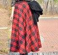 O envio gratuito de 2014 Primavera Outono Inverno Nova Moda UK Plus Size mulheres Casual Xadrez Tartan Preto e Vermelho A Linha Maxi Longo saias