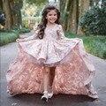 Vestidos de Primera Comunion A-line Length Peter Pan Collar Lace Appliques Long Sleeves Fashion Flower Girl Dress with Train 12