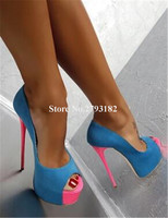 Women Fashion Peep Toe Suede Leather Stiletto Heel High Platform Pumps Blue Patchwork Super High Heels Evening Club Shoes