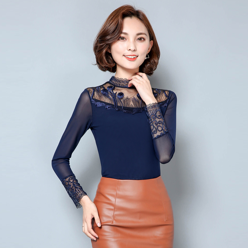 Fashion Embroidered font b Gauze b font Bottom Shirt Elegant Female Long Sleeved Lace Blouse font compare prices on cotton gauze clothing women online shopping buy,B Gauze Womens Clothing