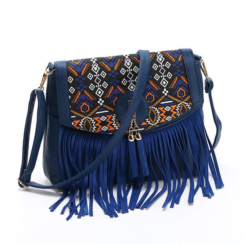Fashion 2017 Women Bag Casual Shoulder Bags Tassel Messenger Bags Ladies Retro Design Handbag Female Leather Crossbody Bag Flap.