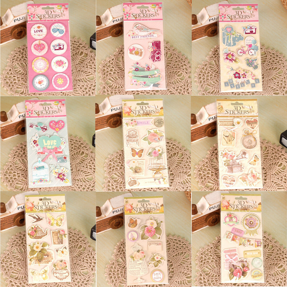 Flower Scrapbooking Stickers Handmade 3D Decorative Stickers For DIY Album,Kids Craft Stickers