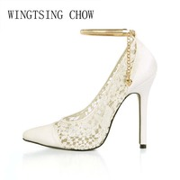2017 New Ivory Sexy Wedding Bridal Shoes Women Pointed Toe Stiletto Super High Heels Chain Lace