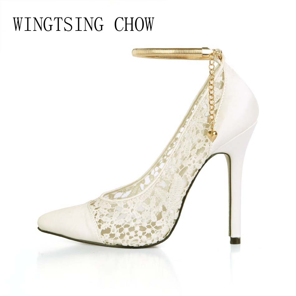 2017 New Ivory Sexy Wedding Bridal Shoes Women Pointed Toe Stiletto Super High Heels Chain Lace Lady Pumps Zapatos Mujer 0640-f5 2017 new spring summer shoes for women high heeled wedding pointed toe fashion women s pumps ladies zapatos mujer high heels 9cm