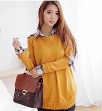 2017 New Arrival Plaid Shirt Collar Knitted Maternity Sweater Autumn Winter Loose Pullover Clothes for Pregnant Women XF8889#065