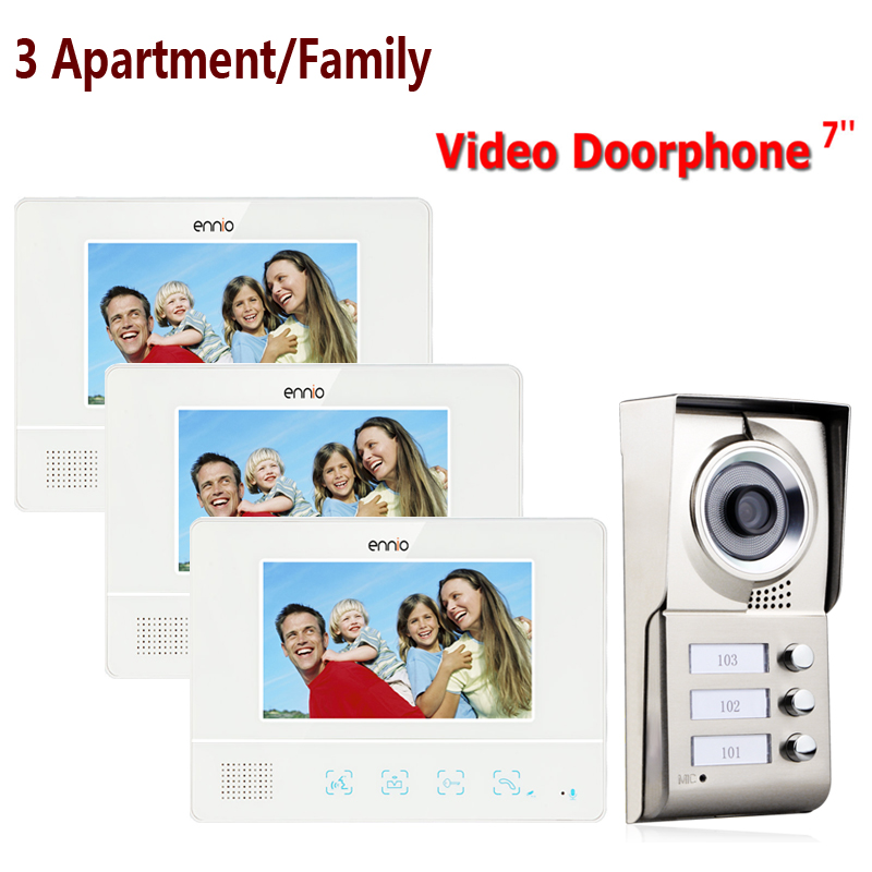 FREE SHIPPING ENNIO 3 Apartment/Family Video Door Phone Intercom System 1 Doorbell Camera With 3 Button 3 Monitor Waterproof
