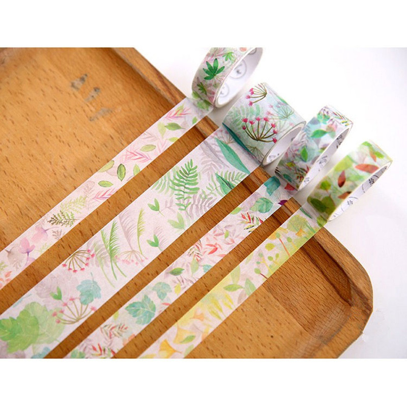 Fresh Leaves & Grass Series Washi Tape Decorative Adhesive Tape Diary Sticker Masking Tape Creative Stationery  4 Roll/Bag