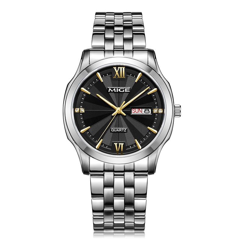 Mige 2017 Hot Sale Free Shipping Lover Watch Black Dial Steel Watchband Waterproof Mans Clock Japan Quartz Week&Date Man Watches