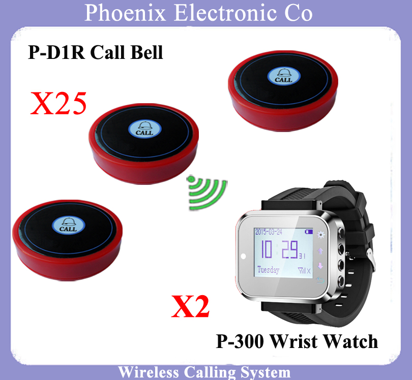 2016 New Wrist Watch Pager Coffee House Call Bell System Restaurant Wireless Call Calling System Waiter Service Paging System restaurant pager watch wireless call buzzer system work with 3 pcs wrist watch and 25pcs waitress bell button p h4