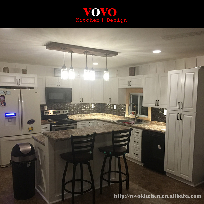 Popular Customized White Solid Wooden Kitchen Cabinet Made