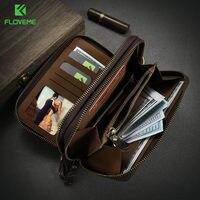 Floveme universal Wallet bolsa para el iPhone 7 lujo retro Cuero auténtico bolsa doble cremallera bolso Fundas para móviles Accesorios
