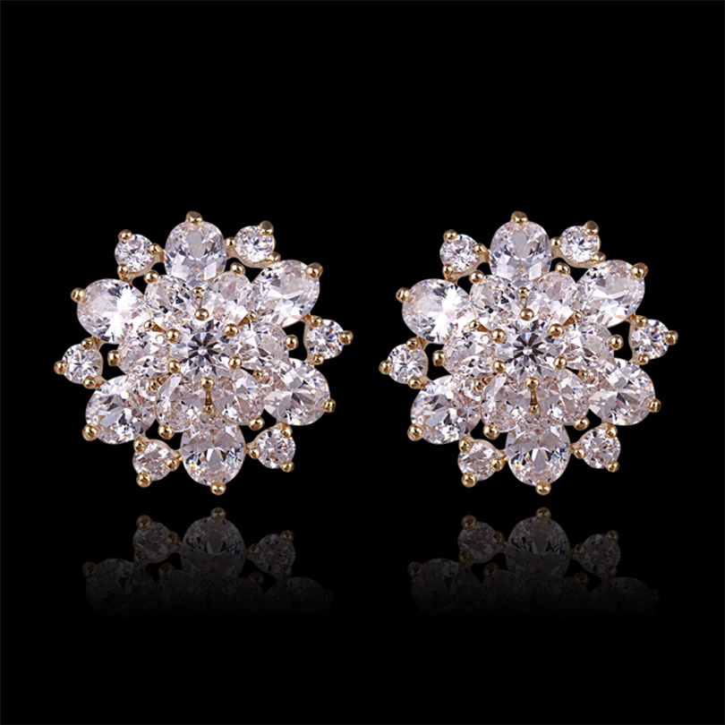 earrings for women jewelry gold -color Austrian Rhinestones charms Beautiful stars Hollow out flowers Stud Earrings(E0208)