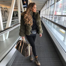 FURSARCAR Fashion Luxury Real Fur Coat Women Winter  High Quality Short Fox Jacket With Collar Thick Warm Genuine Coats