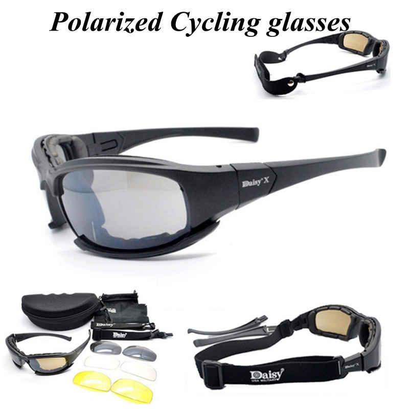 4 lens Polarized Sports Men Sunglasses Road Cycling Glasses Mountain Bike Bicycle Riding Protection Cycling Glasses