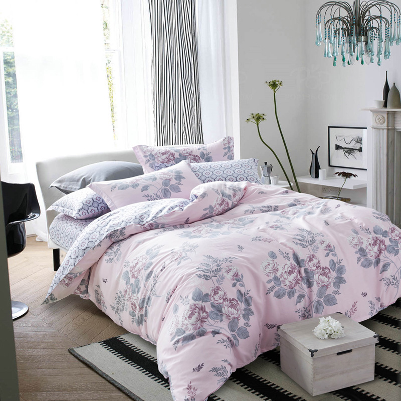 100 cotton fabric bedlinen blossoming peony printed light pink bedding set queen size quilt. Black Bedroom Furniture Sets. Home Design Ideas