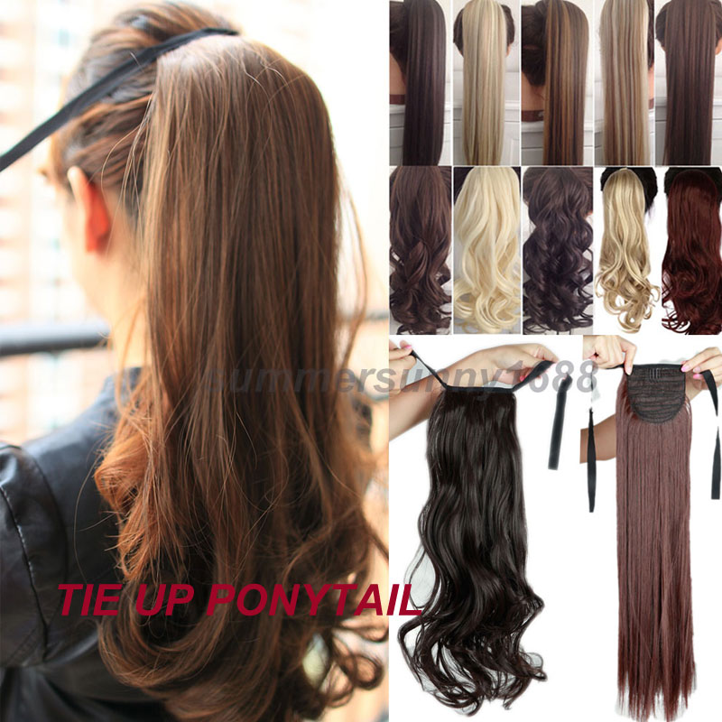 S Noilite Long Curly Ribbon Ponytail Synthetic Hair Clip In Hair