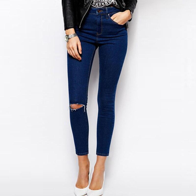 Europe Style Slim Sexy High Waist Jeans Woman Blue Ripped Jeans 2017 Spring Summer New Hole Plus Size Denim Pants Femme S-3XL кресло кровать коломбо вк