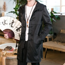 Chinese Spring New Fashion Mid-length Mens Trench Hooded Retro Windbreaker Solid Casual Mens Trench High Quality