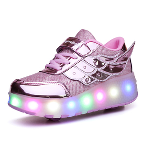 Image 4 - Children One Two Wheels Luminous Glowing Sneakers Gold Pink Led Light Roller Skate Shoes Kids Led Shoes Boys Girls USB Charging