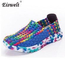 Eiswelt/Женская обувь женские мокасины женская повседневная обувь на плоской подошве летние туфли на плоской подошве плетеная обувь слипоны красочные обуви Mujer # ZQS019