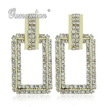 2019 New arrival Luxury Sparkling oblong Crystal Earrings for Women Rhinestone Simple Gold silver color Wedding Party E095 недорого
