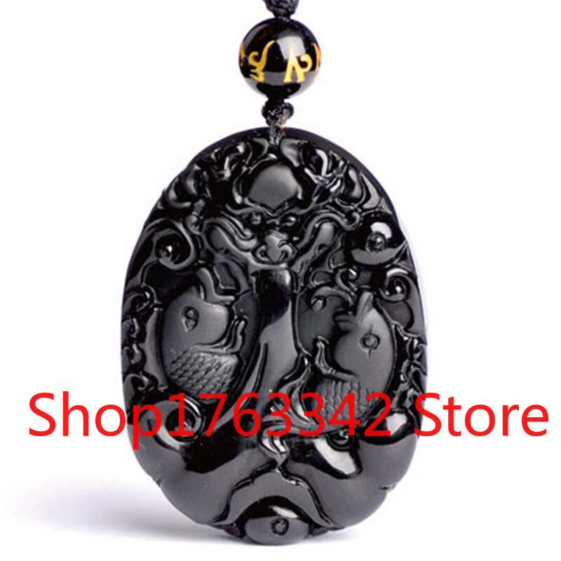 Natural  Black Obsidian Dragon Pendant Carp Fish Beads Necklace Charm Jewellery Fashion Accessories Hand-Carved Amulet Gifts