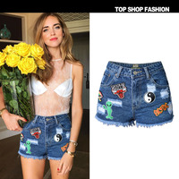RenYvtil Womens High Waist Frayed Ripped Hole Embroidered Denim Shorts Girls S Cute Younger Online Star