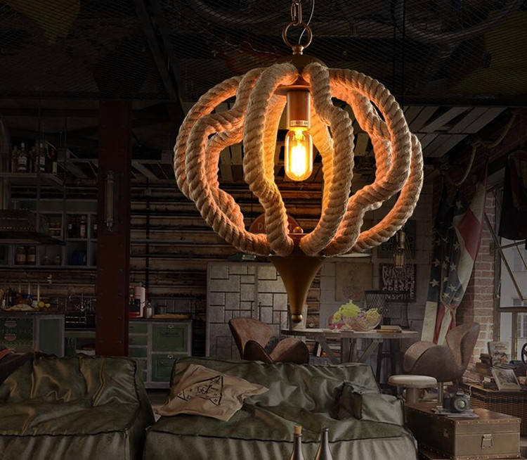 Loft American Village Personality Creative Restaurant Chandelier Bar Clothing Store Iron Vintage Rope Chandelier Free Shipping modern and simple aluminum chandelier creative personality restaurant bar clothing store chandelier free shipping
