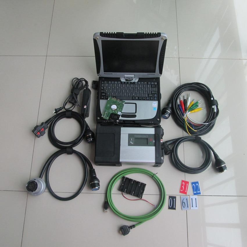 Sd connect 5 mb star c5 avec cf19 ordinateur portable 2019 date logiciel 320 gb hdd outil de diagnostic pour les voitures et camions prêts à utiliser