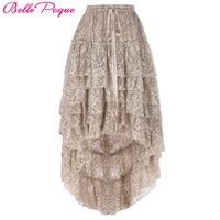 Skirts Womens 2017 Ladies High-Low hemline design Tan Color Amelia Steampunk Ruffled lace Cake Skirt Popular Skirt Free Size