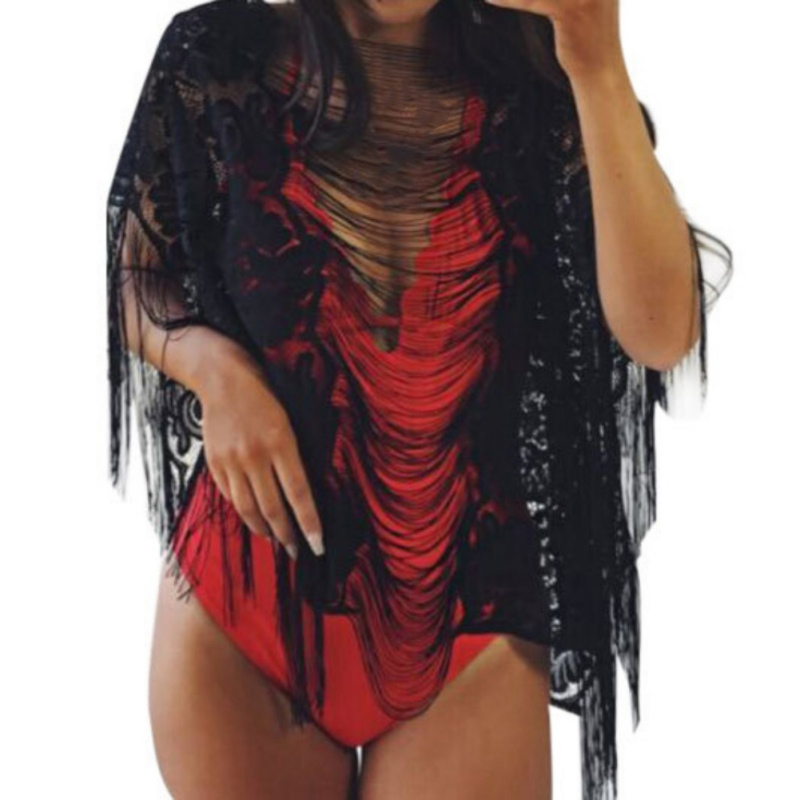 Up Hollow w Wear Blusa Manga B Out Borla Verano Señoras Lace Cover Batwing Bikini Tops Del Mujeres Sexy Beach UwEZnqIF