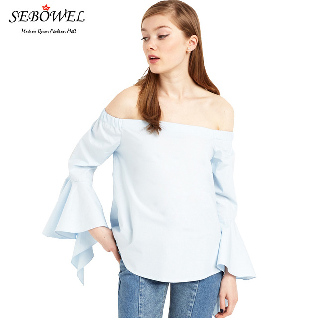 SEBOWEL 2016 Autumn Casual Light Blue T Shirt Women Butterfly Long Sleeve Fashion Off Shoulder ladies Tops Camisas Femininas 33