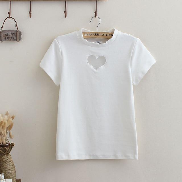 Summer Women Sweet Cute Love Shap Heart Hollow out Chest Sexy T-shirt Gauze Solid Candy Colors Cotton Short sleeve Slim Shirt