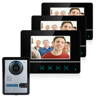 ホット7インチtftタッチスクリーンカラー液晶ビデオドア電話有線ビデオインターホン3モニター+ 1カメラドアベルインターホンシステ