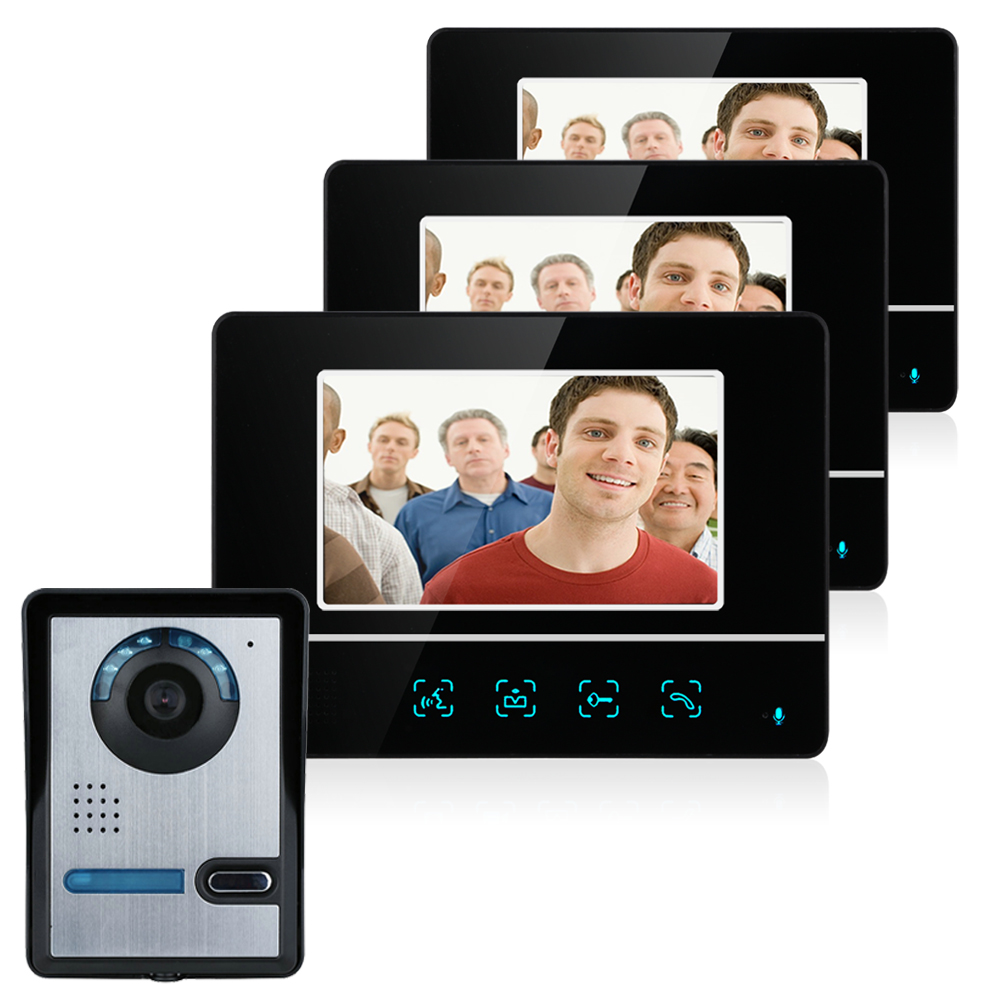 Hot 7 Inch TFT Touch Screen Color LCD Video Door Phone Wired Video Intercom 3 Monitors+ 1 Camera Doorbell Intercom System