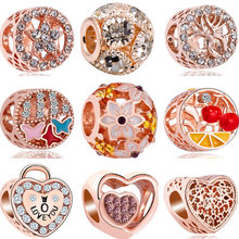 Rose Gold Color Hollow Cherry Dream-catcher Butterfly Love Heart Crystal Beads Fit Pandora Charms Bracelets for Women DIY Bijoux(China)