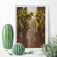 Abstract Canvas Painting Romantic Tree Lovers Kiss Art Print Wall Art Print Poster Home Decor Picture Print No Frame
