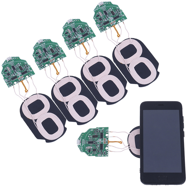 Portátil 10 W Qi de carga rápida cargador inalámbrico PCBA placa de circuito con Dual 2 bobinas estándar de carga inalámbrica Qi Accesorios