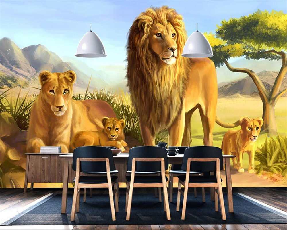 beibehang Home decoration murals wallpaper animal lion cartoon children room background mural TV sofa background 3d wallpaper