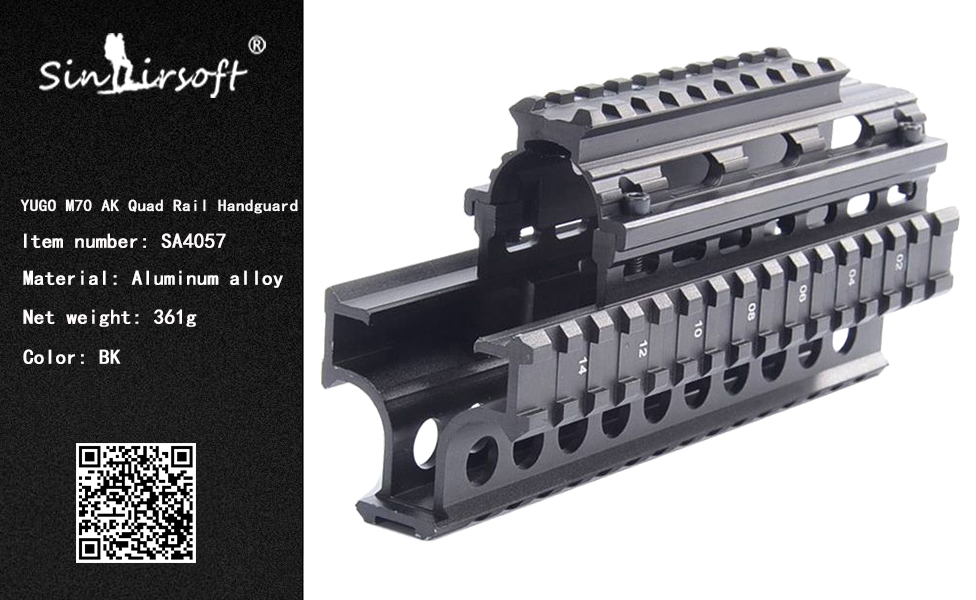US $27 35 43% OFF Yugo M70 AK Quad Rail Handguard for Laser Dot Sights  Riflescope Mount V cut for Co witness with Iron Sights MTU011-in Scope  Mounts &