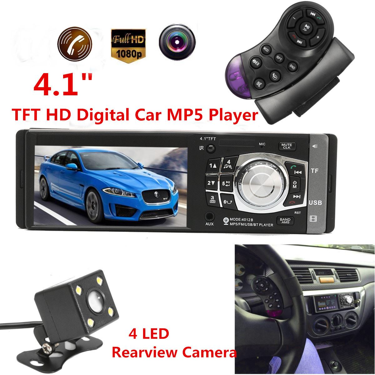 4.1 Inch Car Mp5 Player 1 Din HD Car Radio Audio Video Player With Rearview Camera Bluetooth Remote Control Stereo FM USB SD