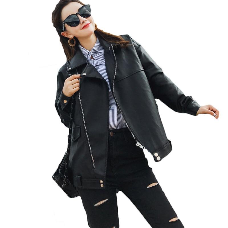 Harajuku BF PU   Leather   Jacket 2018 Women's New Spring Autumn Jacket Soft   Leather   Coat Slim Lapel Motorcycle Jacket Black A179
