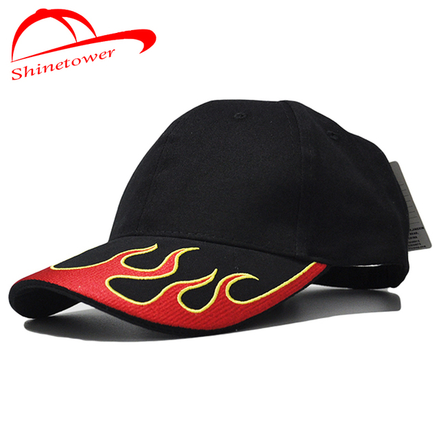 65a8486ee9bc34 [Shinetower]Unisex 100% Cotton Casual Fire Flame Embroidery Baseball Cap F1  CAP Men Women Snapback Hats Truck Hats Adjustable