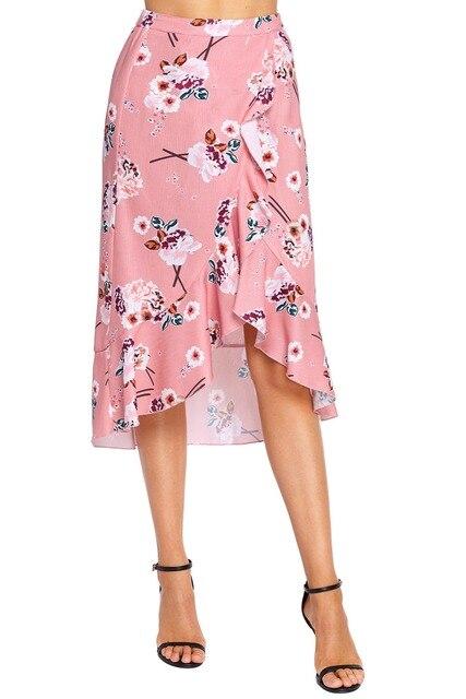 5aff8efc0cd23 Floral Ruffle Wrap Skirt in Black Pink Beach Boho Long Skirt-in ...