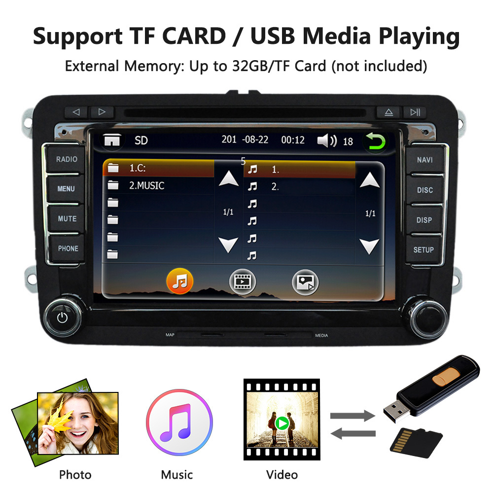 7 1080P HD DVD Player GPS Navigation BT Car Radio 2 Din Dash Car PC Stereo Head Unit for VW Volkswagen +Free Map