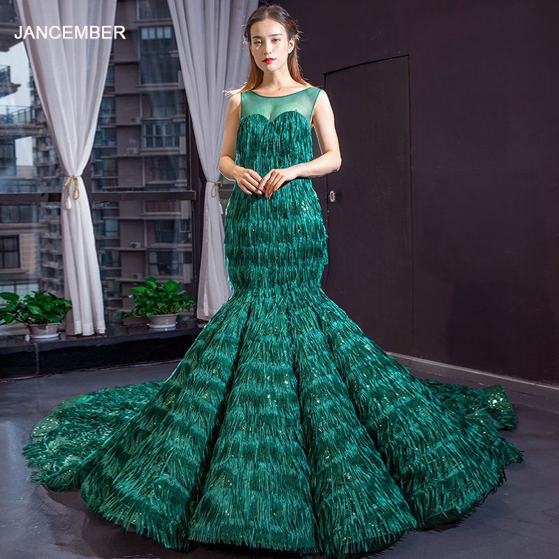 J66864 Jancember Mermaid Evening Dress O-neck Sleeveless Green Tassel Formal Fringe Dress With Feather Vestido Con Borlas Fiesta